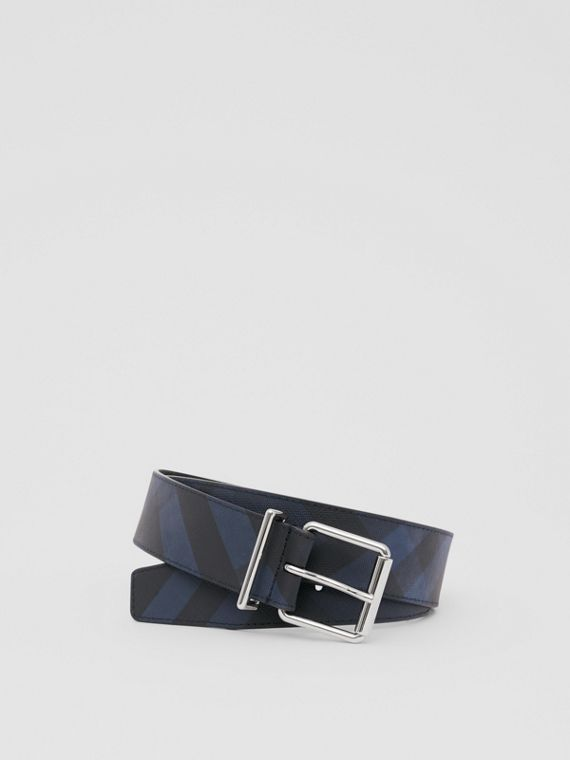 London Check and Leather Belt in Navy