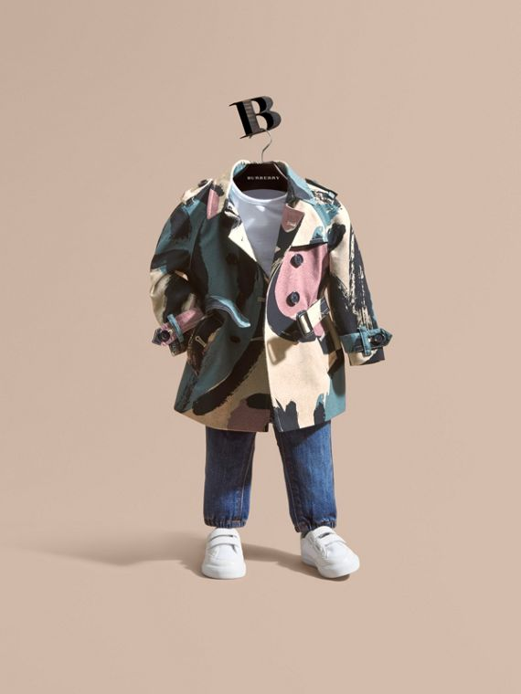 Painterly Print Cotton Gabardine Trench Coat