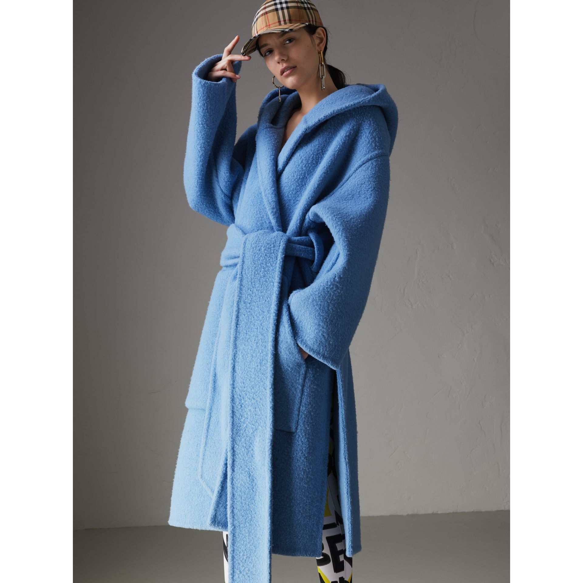 Alpaca Wool Blend Dressing Gown Coat in Hydrangea Blue - Women | Burberry Canada - gallery image 5