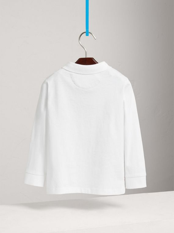 Long-sleeve Cotton Jersey Polo Shirt in White - Boy | Burberry Australia - cell image 3