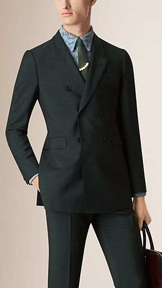 Double-Breasted Mohair Wool Tailored Jacket