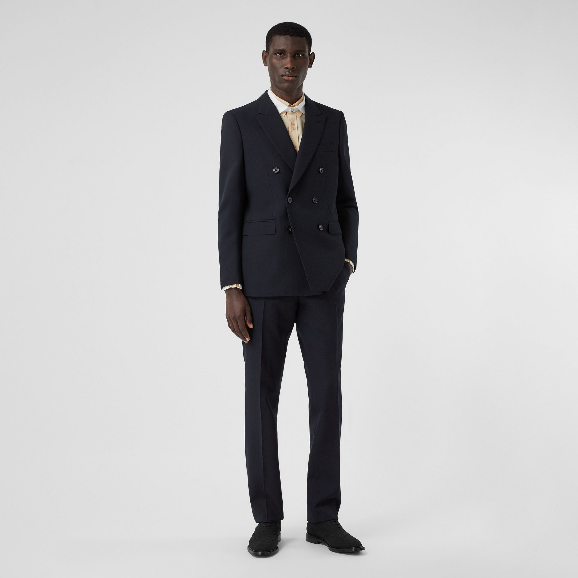 Classic Fit Double-faced Wool Crepe Tailored Trousers in Navy - Men | Burberry - gallery image 0
