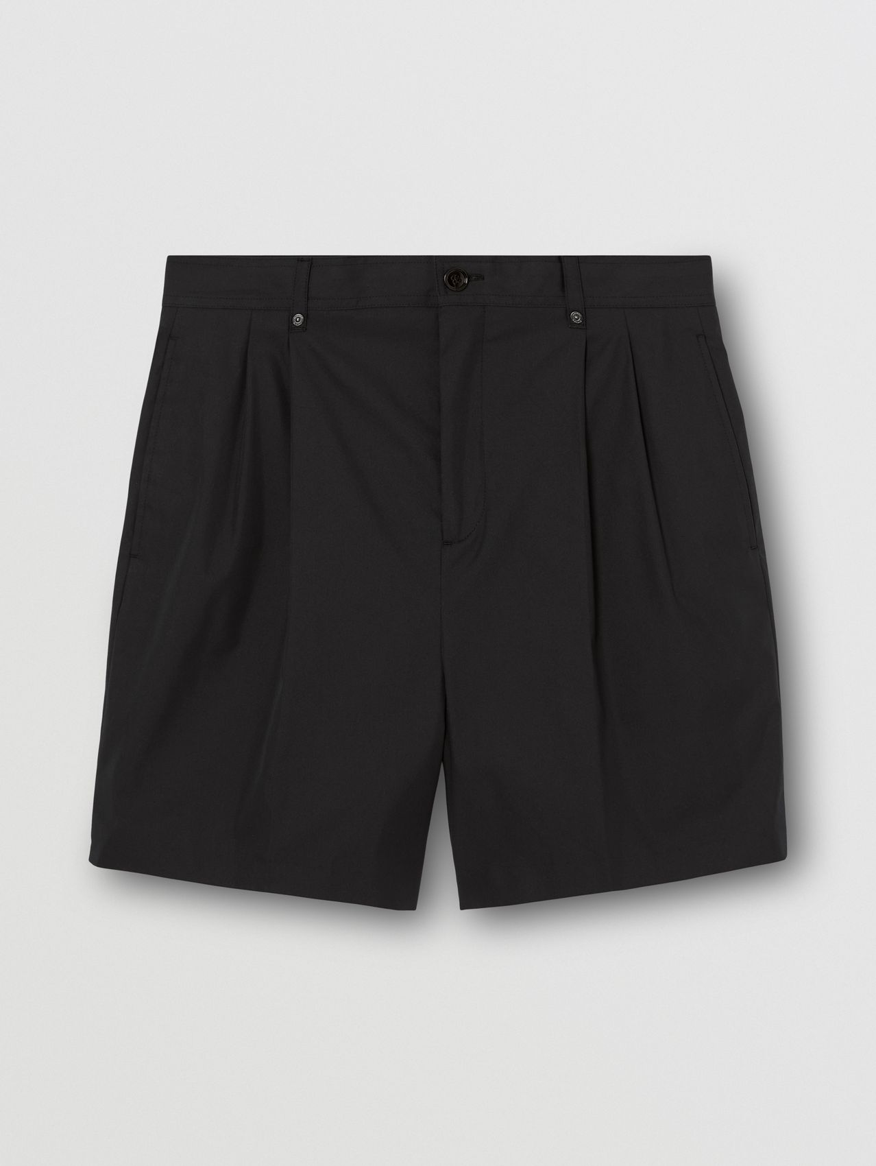 Technical Cotton Tailored Shorts in Black