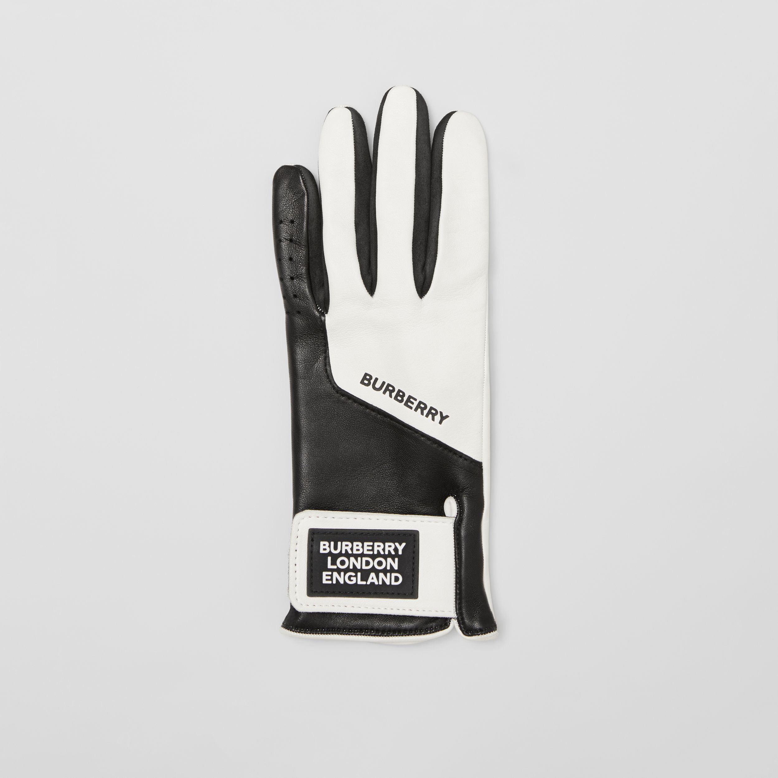 Logo Appliqué Two-tone Lambskin Gloves in Optic White/black | Burberry Hong Kong S.A.R. - 3