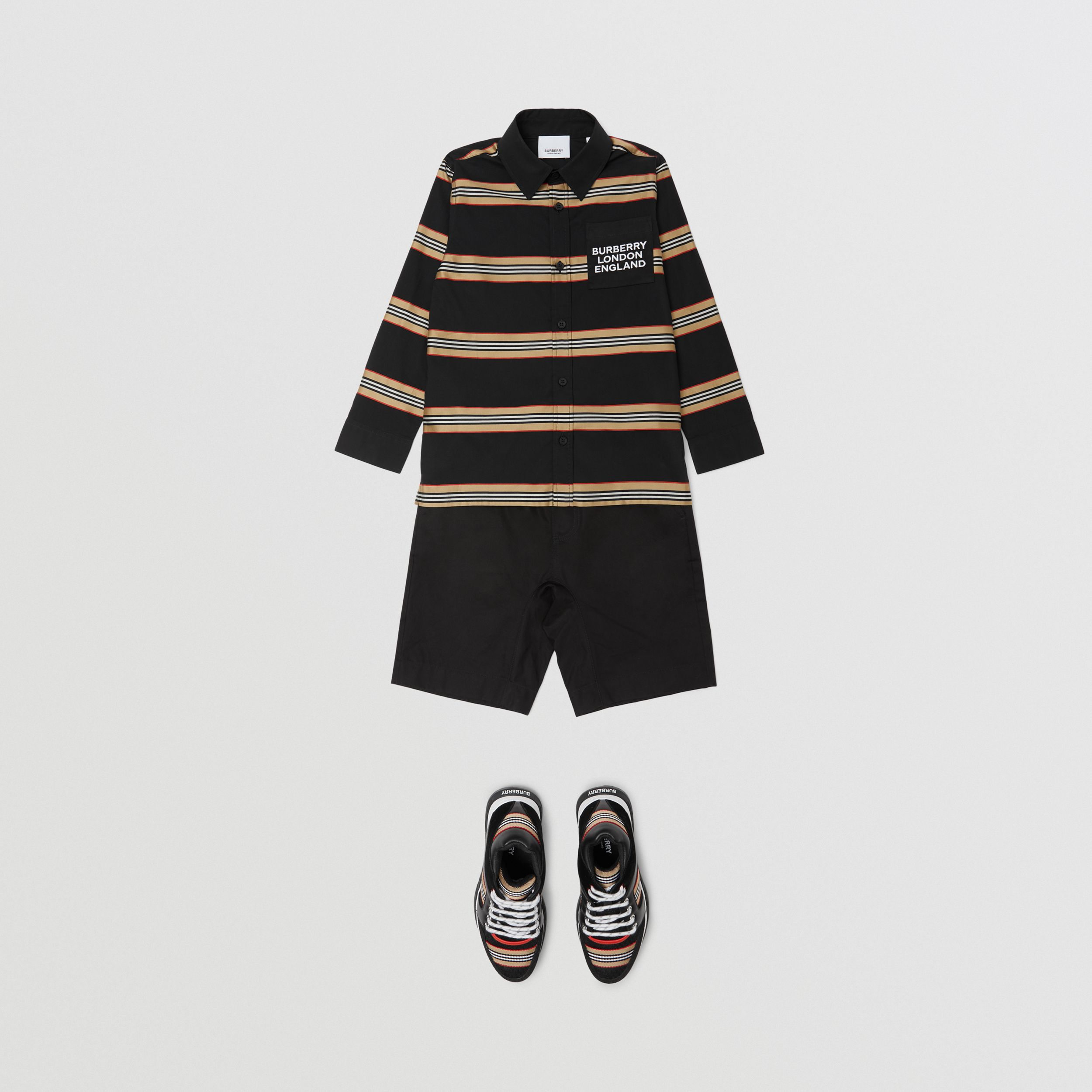 Embroidered Logo Icon Stripe Cotton Shirt in Black | Burberry - 3