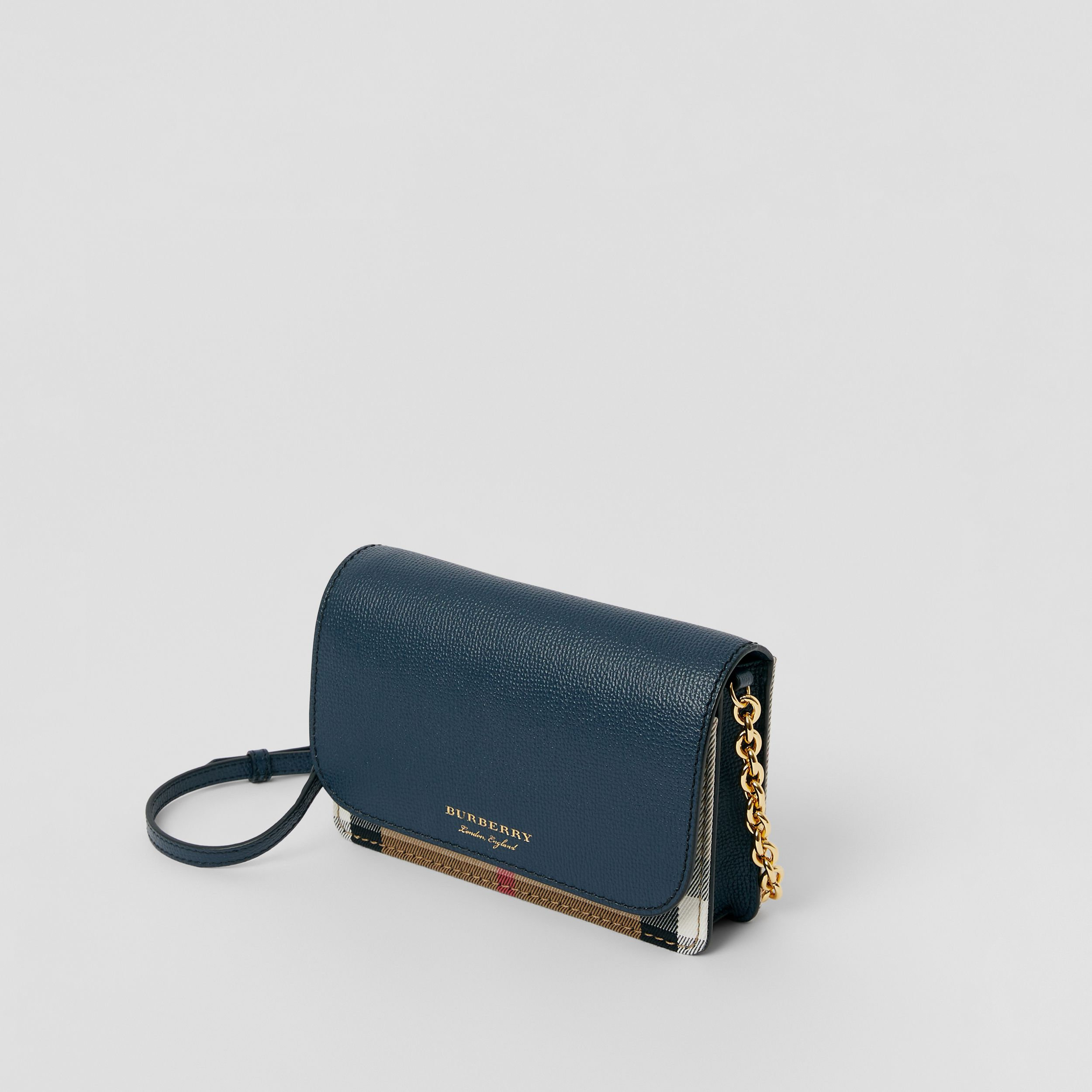 Small Leather and House Check Crossbody Bag in Ink Blue - Women | Burberry - 3