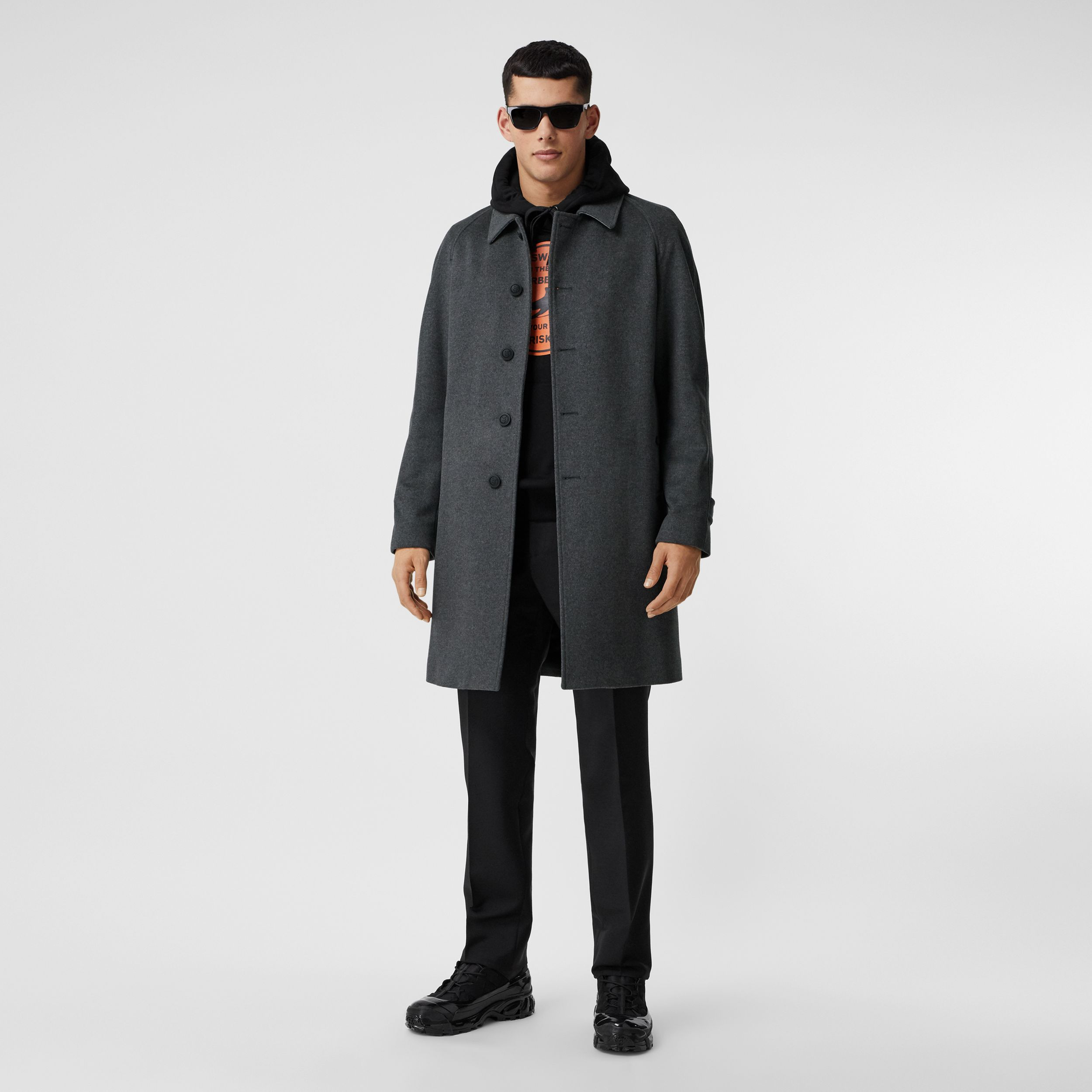 Button Detail Wool Cashmere Car Coat in Charcoal Melange - Men | Burberry - 1