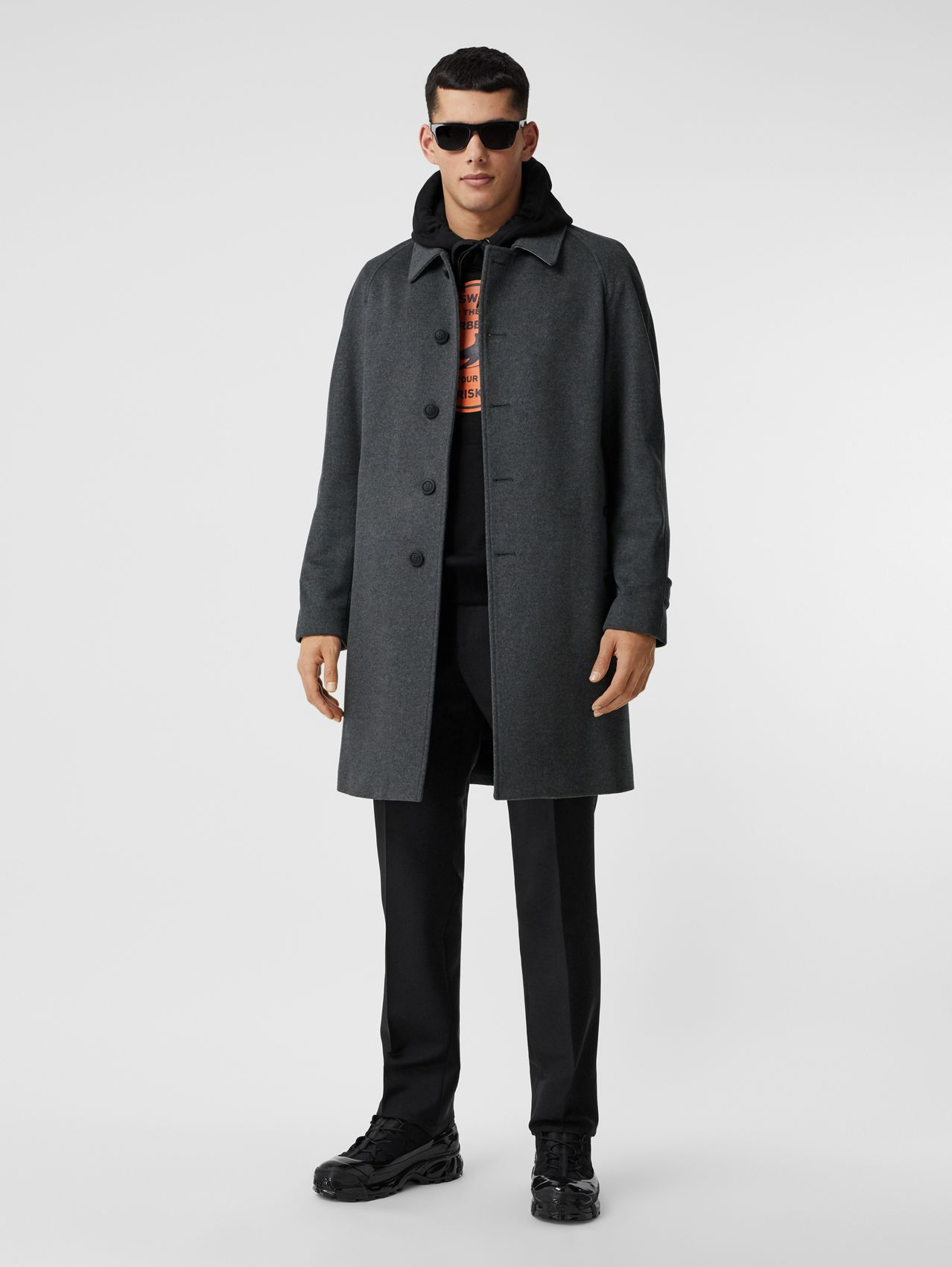 Button Detail Wool Cashmere Car Coat in Charcoal Melange