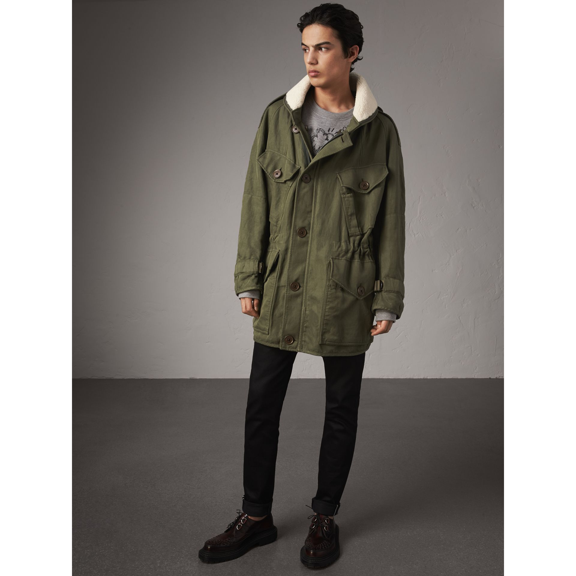 Shearling Collar Ramie Cotton Field Jacket in Olive - Men | Burberry - gallery image 6