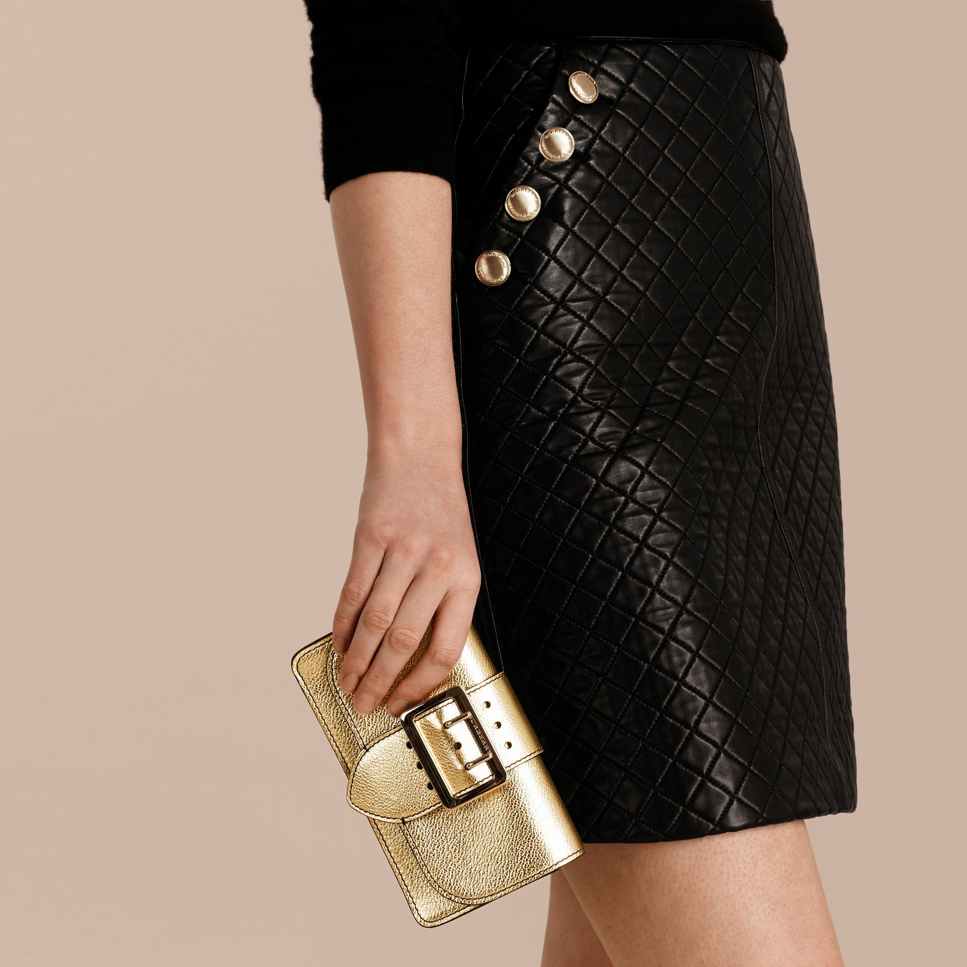 Gold The Mini Buckle Bag in Metallic Grainy Leather Gold - gallery image 4