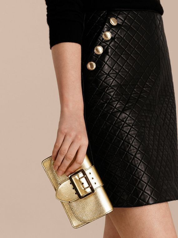 Gold The Mini Buckle Bag in Metallic Grainy Leather Gold - cell image 3