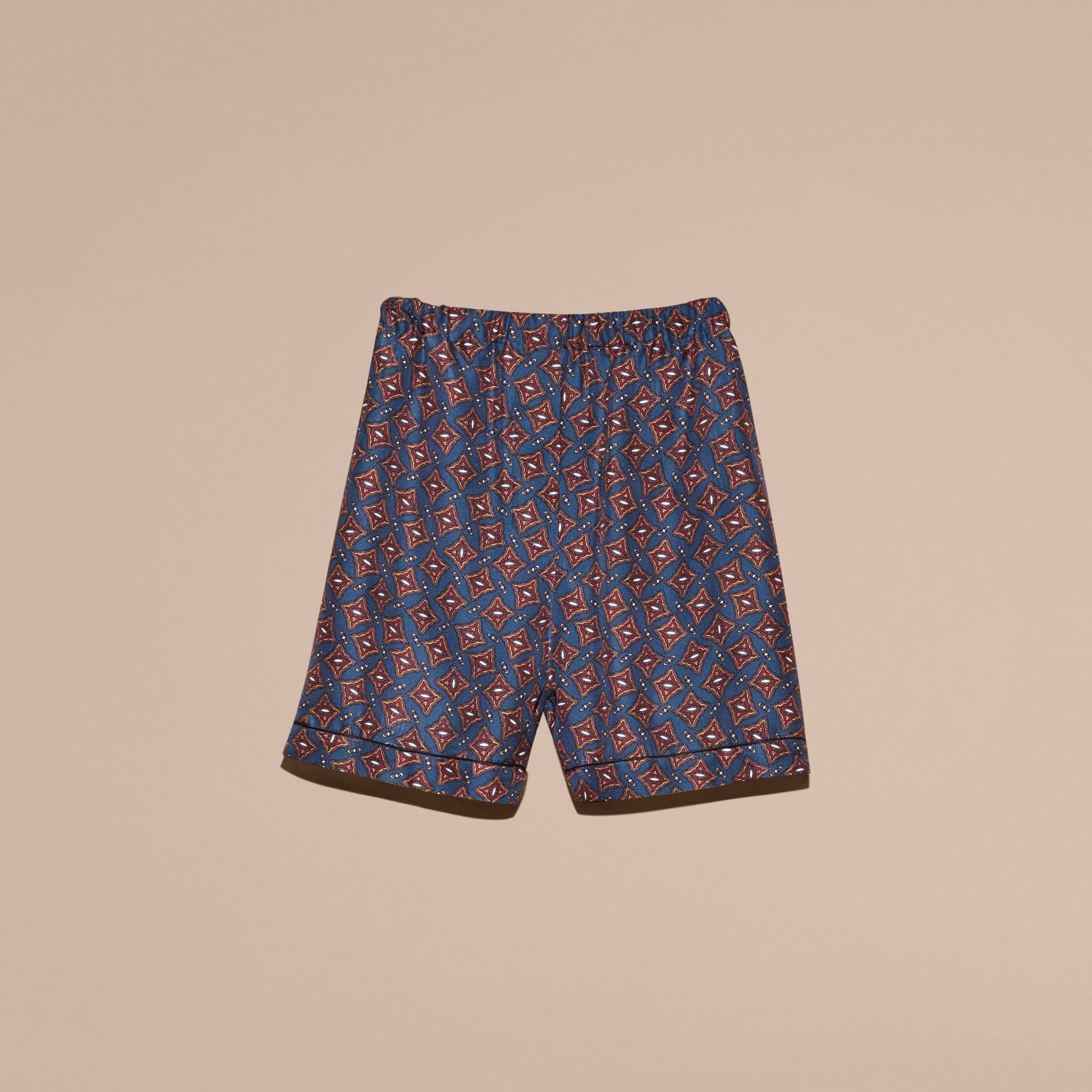 Navy Scattered Geometric Tile Print Silk Pyjama-style Shorts - gallery image 4
