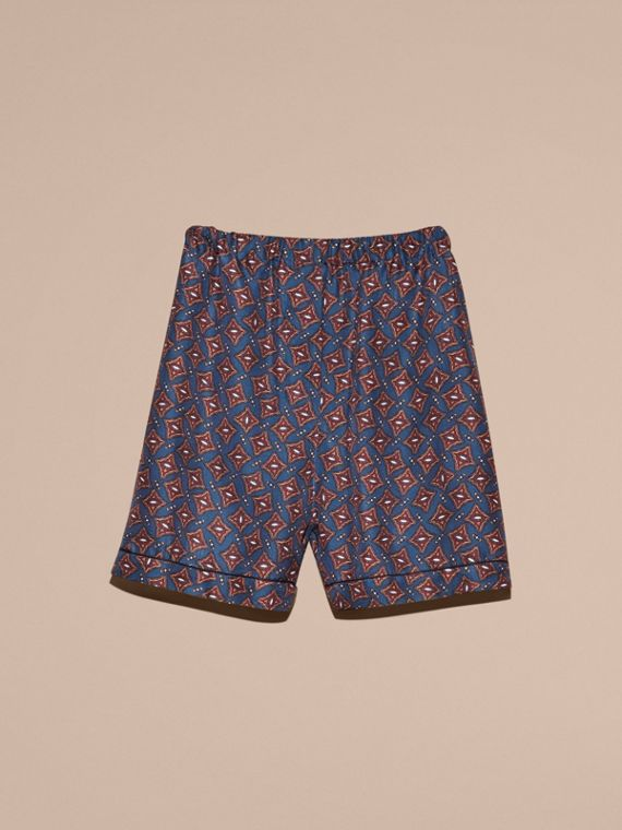 Navy Scattered Geometric Tile Print Silk Pyjama-style Shorts - cell image 3