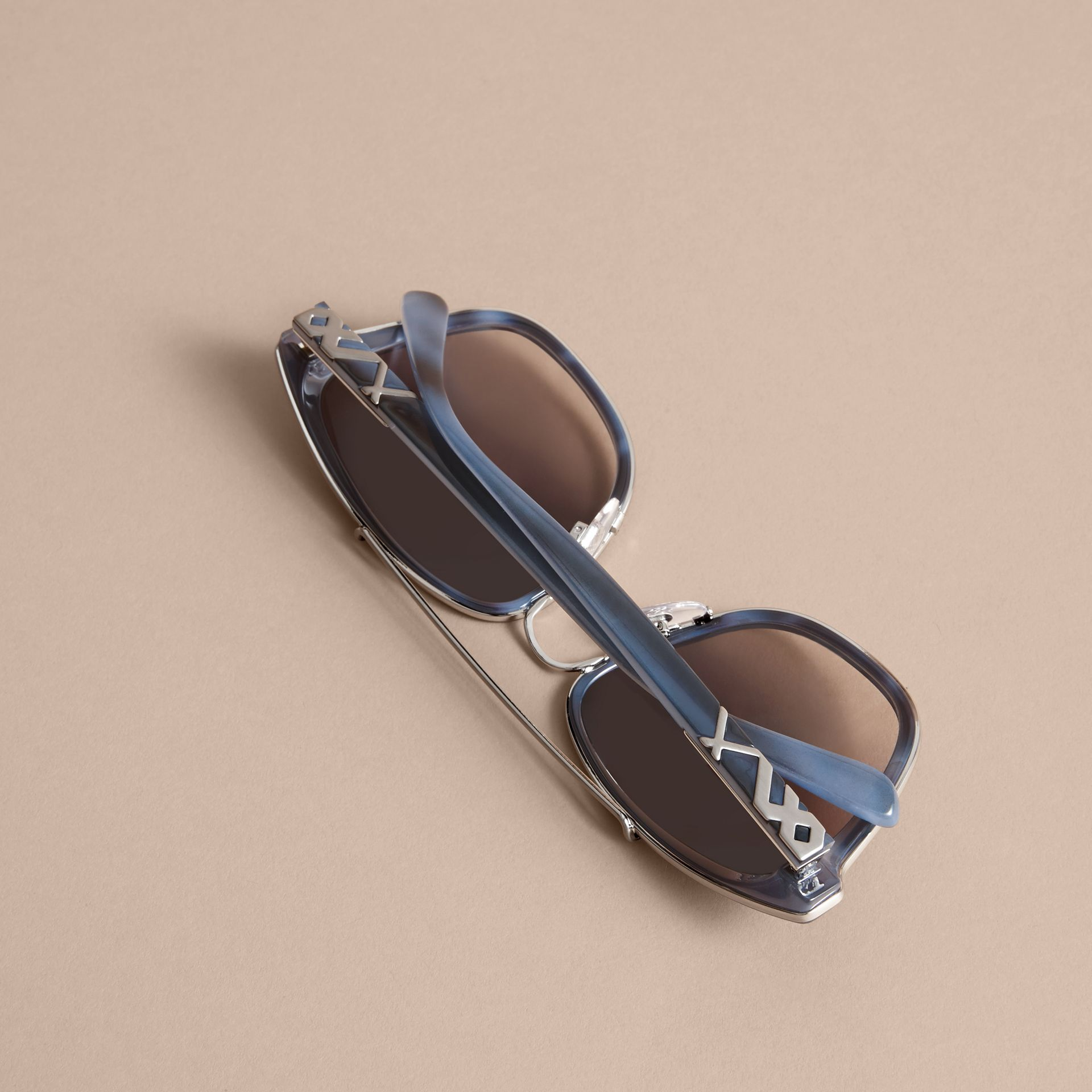 Check Detail Square Frame Sunglasses Blue - gallery image 4
