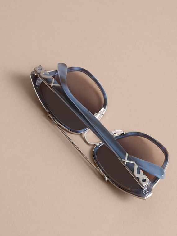 Check Detail Square Frame Sunglasses Blue - cell image 3