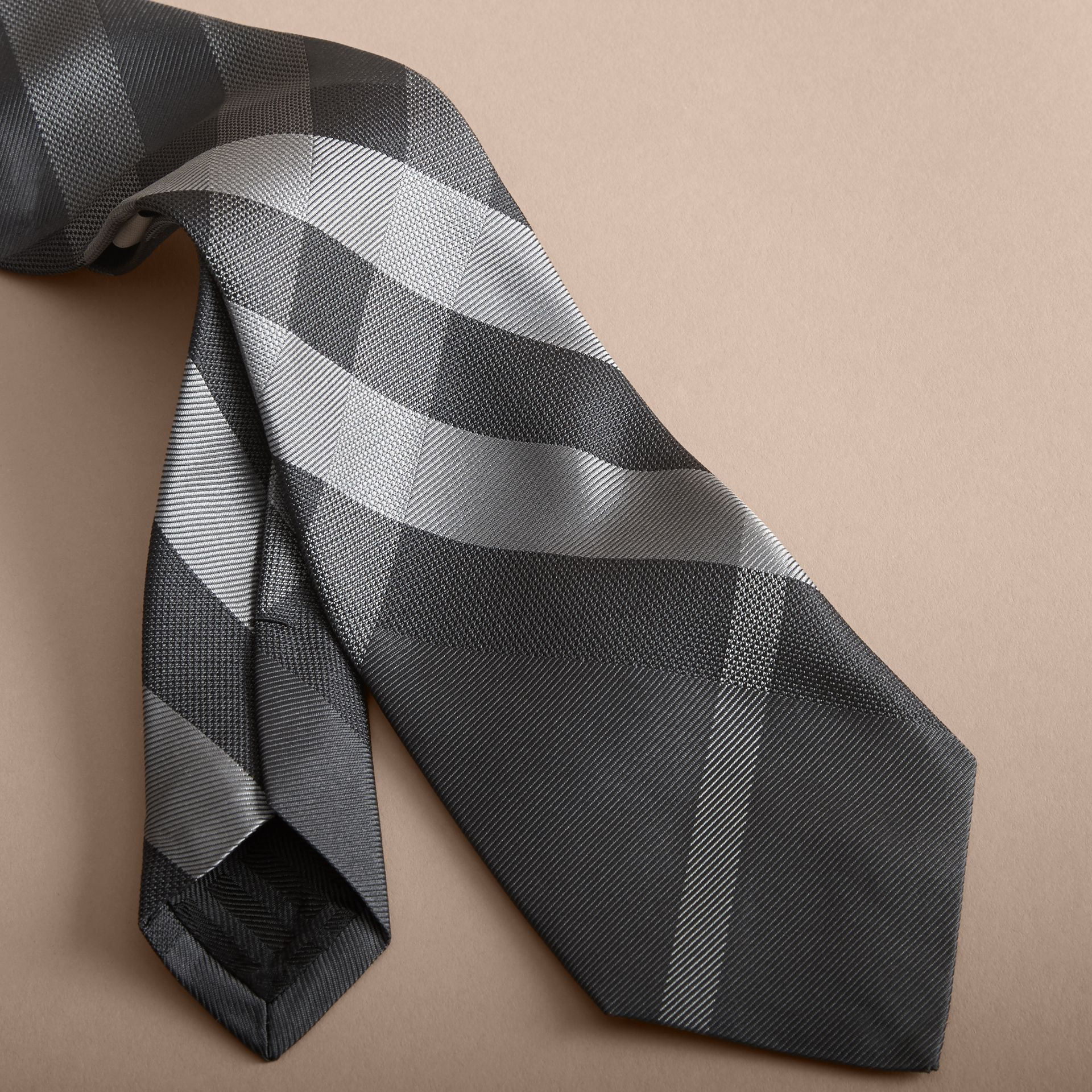 Modern Cut Beat Check Silk Tie in Dark Charcoal - Men | Burberry - gallery image 2
