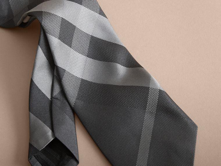 Dark charcoal Modern Cut Beat Check Silk Tie - cell image 1