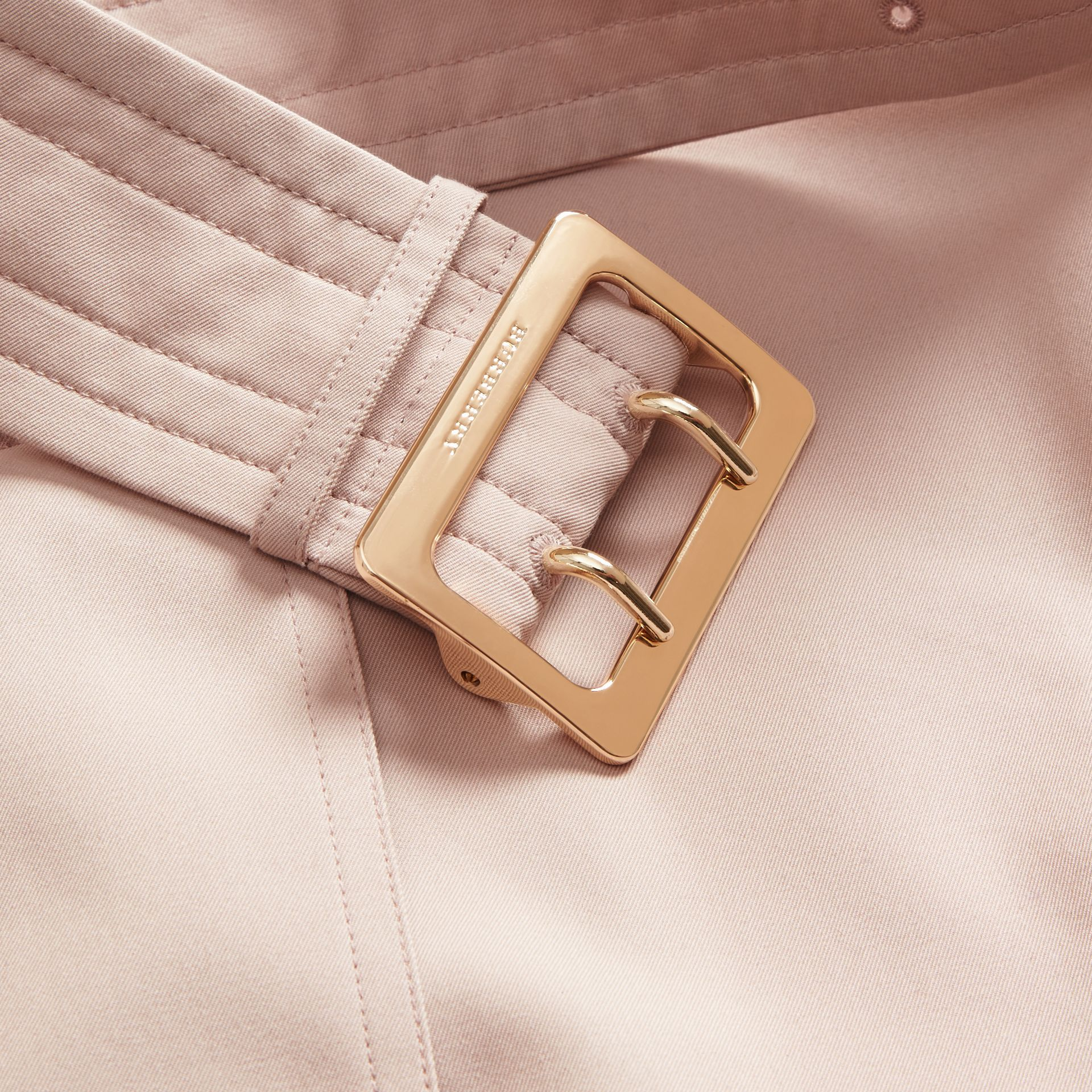 Single-breasted Trench Coat with Metal Buckle Detail Ice Pink - gallery image 2