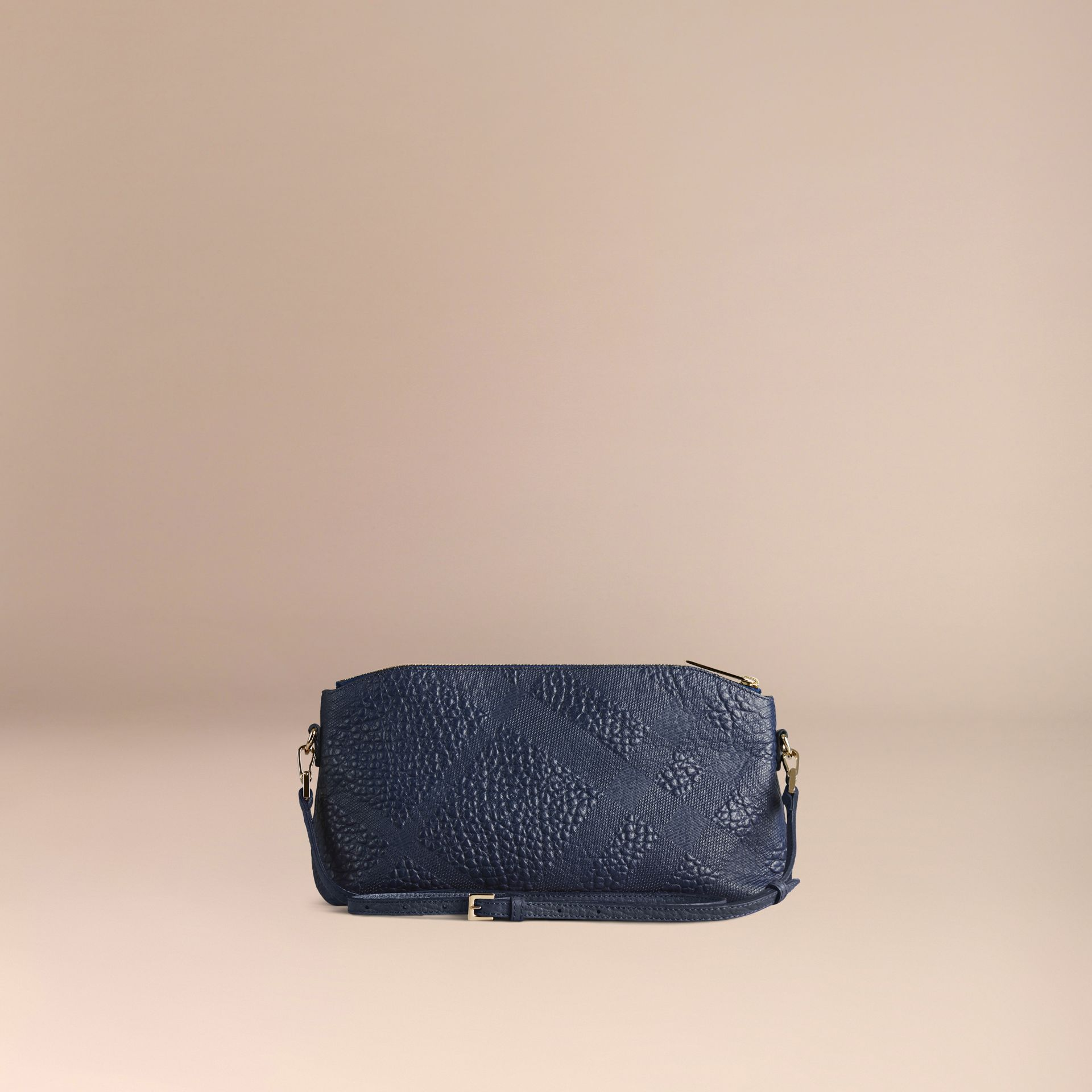 Small Embossed Check Leather Clutch Bag in Blue Carbon - gallery image 5