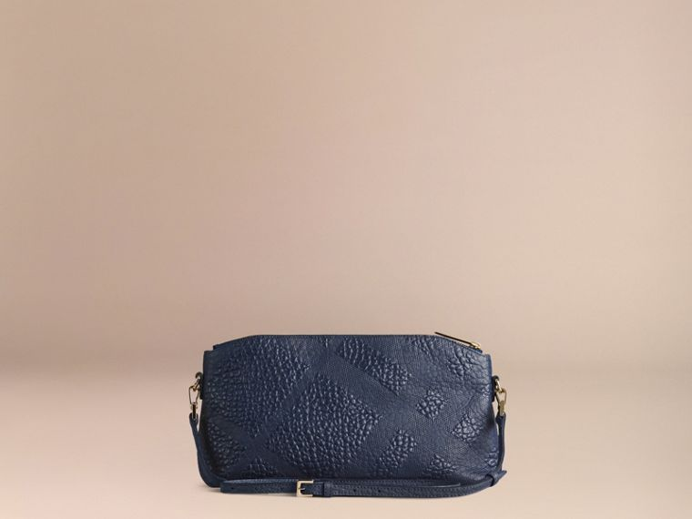 Small Embossed Check Leather Clutch Bag in Blue Carbon - cell image 4
