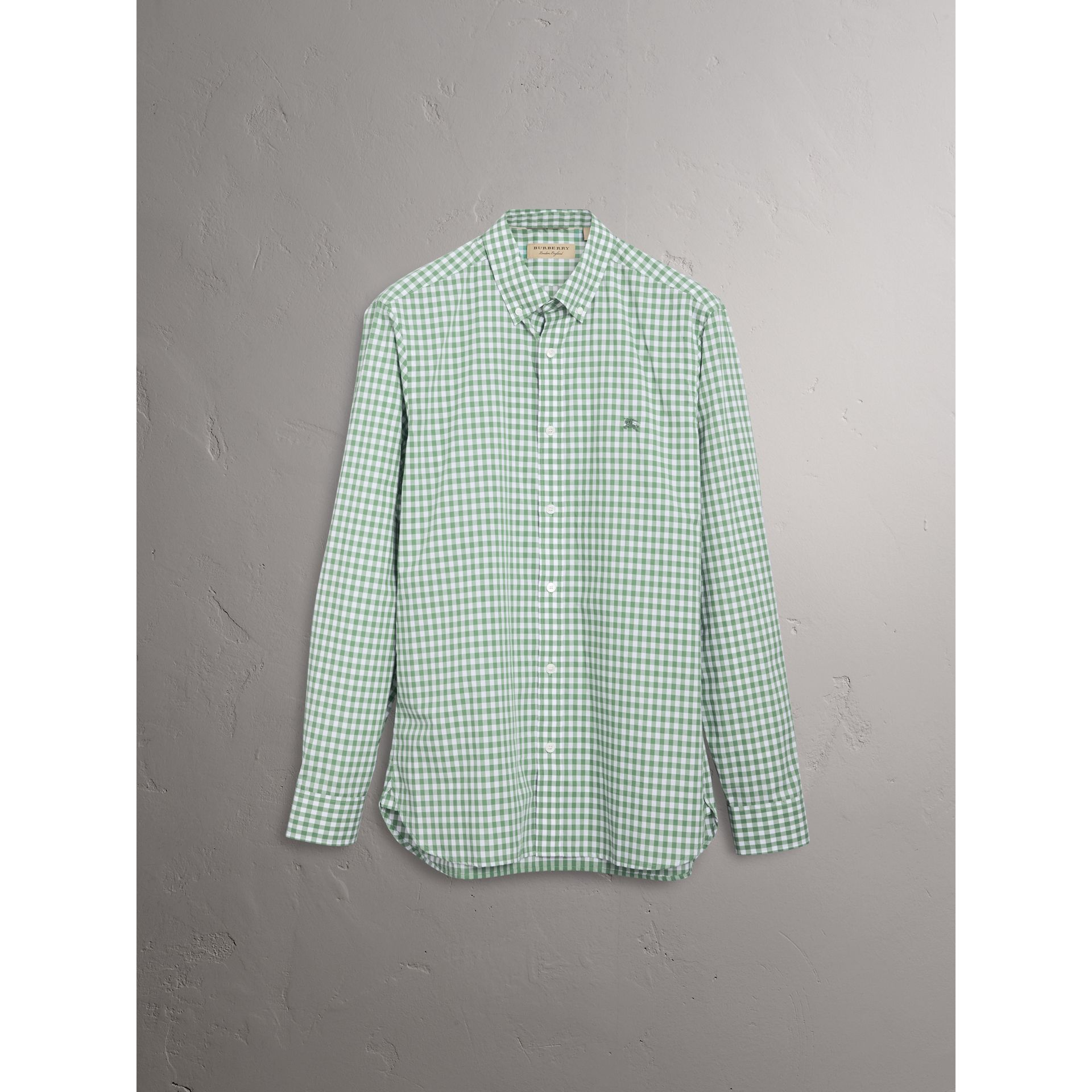 Button-down Collar Gingham Cotton Shirt in Pale Tourmaline - Men | Burberry - gallery image 3