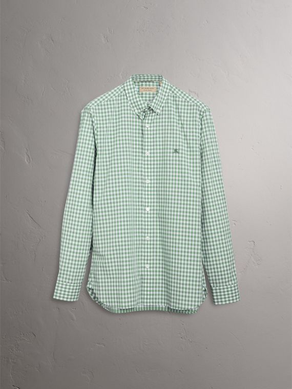 Button-down Collar Gingham Cotton Shirt in Pale Tourmaline - Men | Burberry United Kingdom - cell image 3
