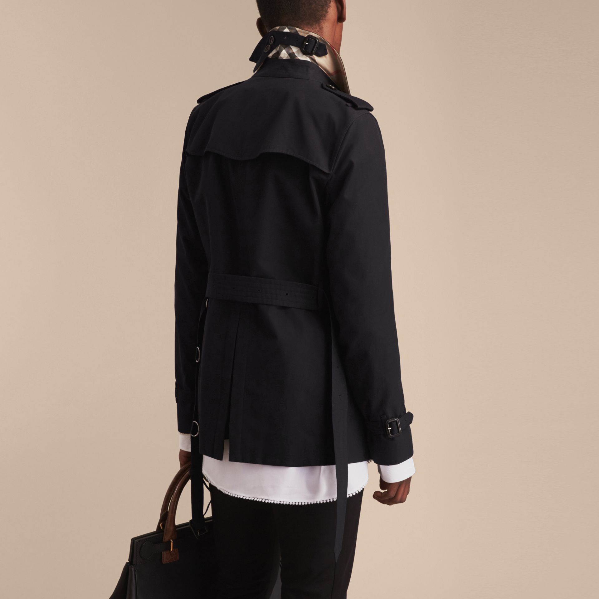 Black The Kensington – Short Heritage Trench Coat Black - gallery image 4