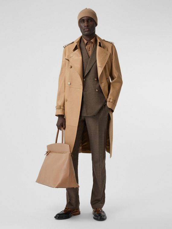 Plonge Leather Trench Coat in Camel