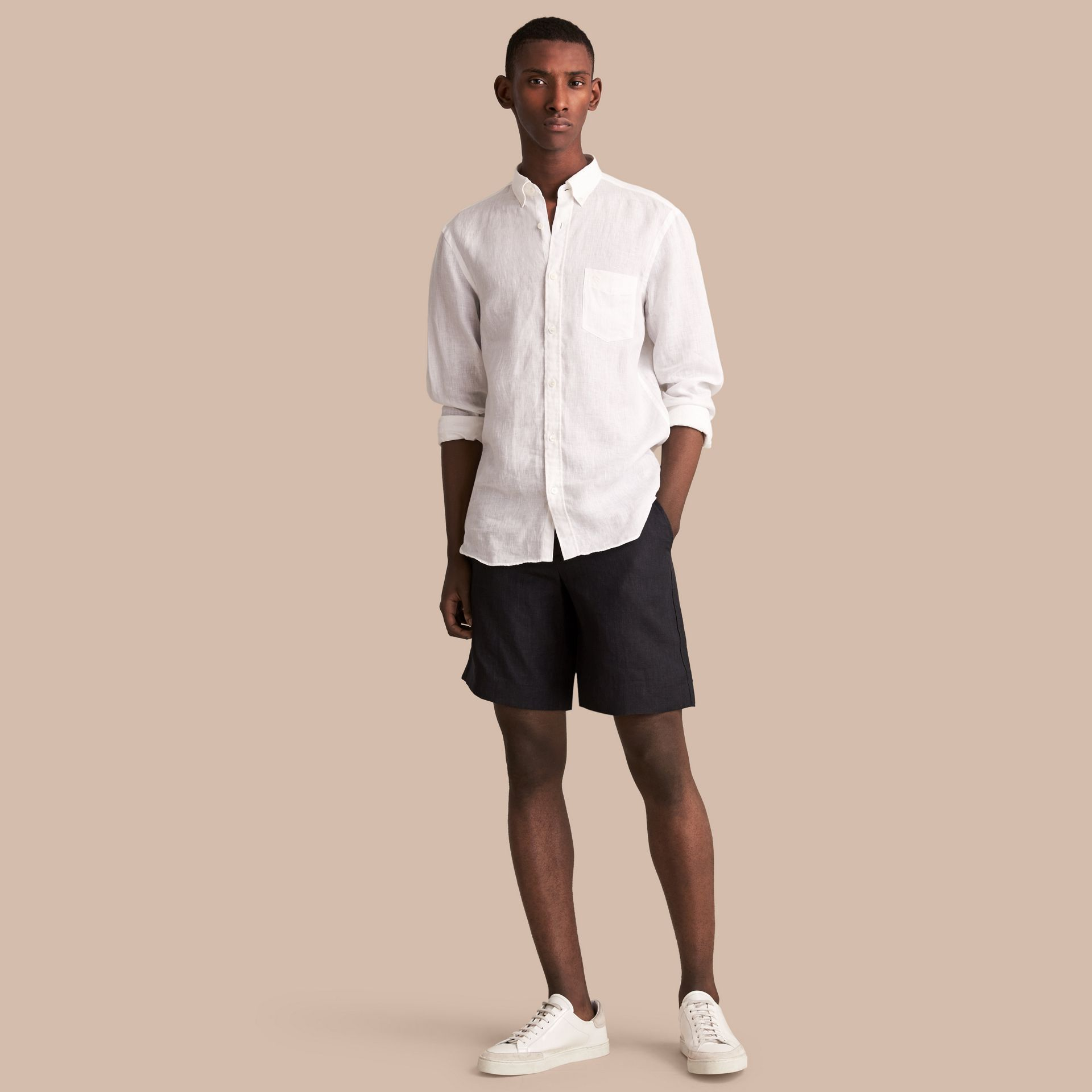 Lightweight Linen Shorts in Charcoal - Men | Burberry - gallery image 1