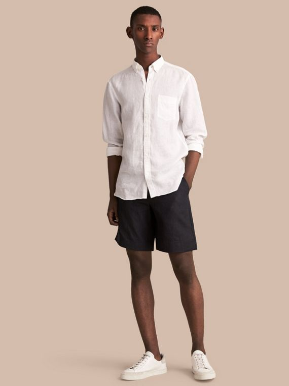 Lightweight Linen Shorts in Charcoal - Men | Burberry Canada
