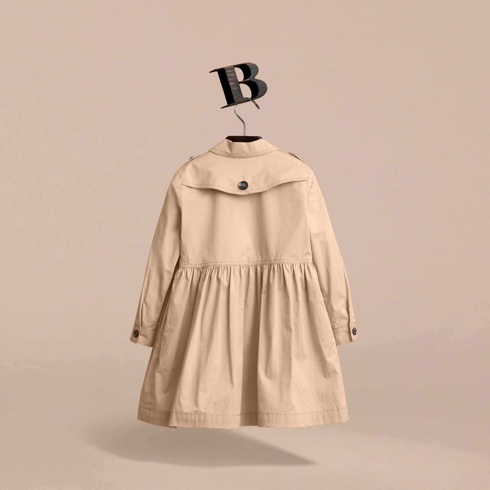 Check Detail Stretch Cotton Trench Dress in Honey - Girl | Burberry - gallery image 3
