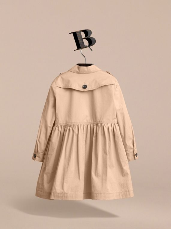 Check Detail Stretch Cotton Trench Dress in Honey - Girl | Burberry - cell image 2