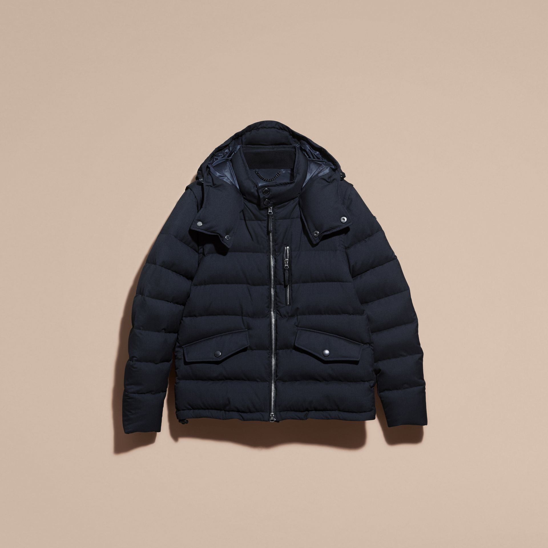 Navy Down-filled Silk Wool Puffer Jacket - gallery image 4
