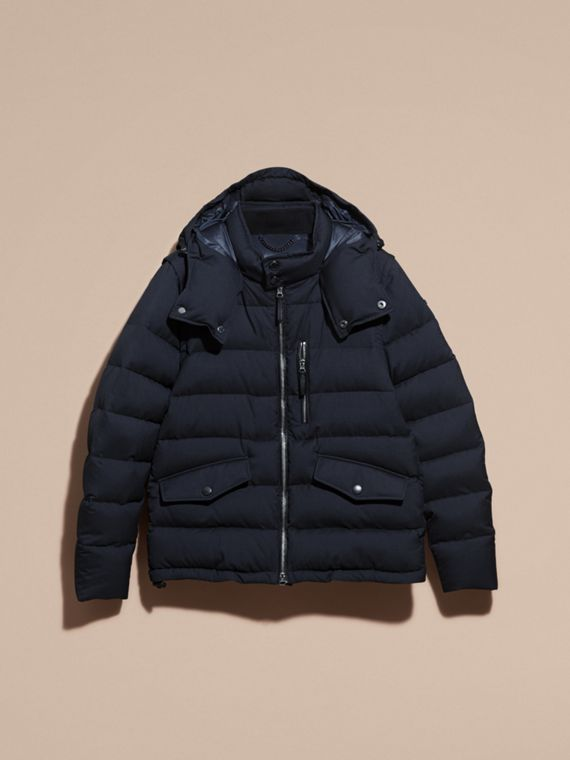 Navy Down-filled Silk Wool Puffer Jacket - cell image 3