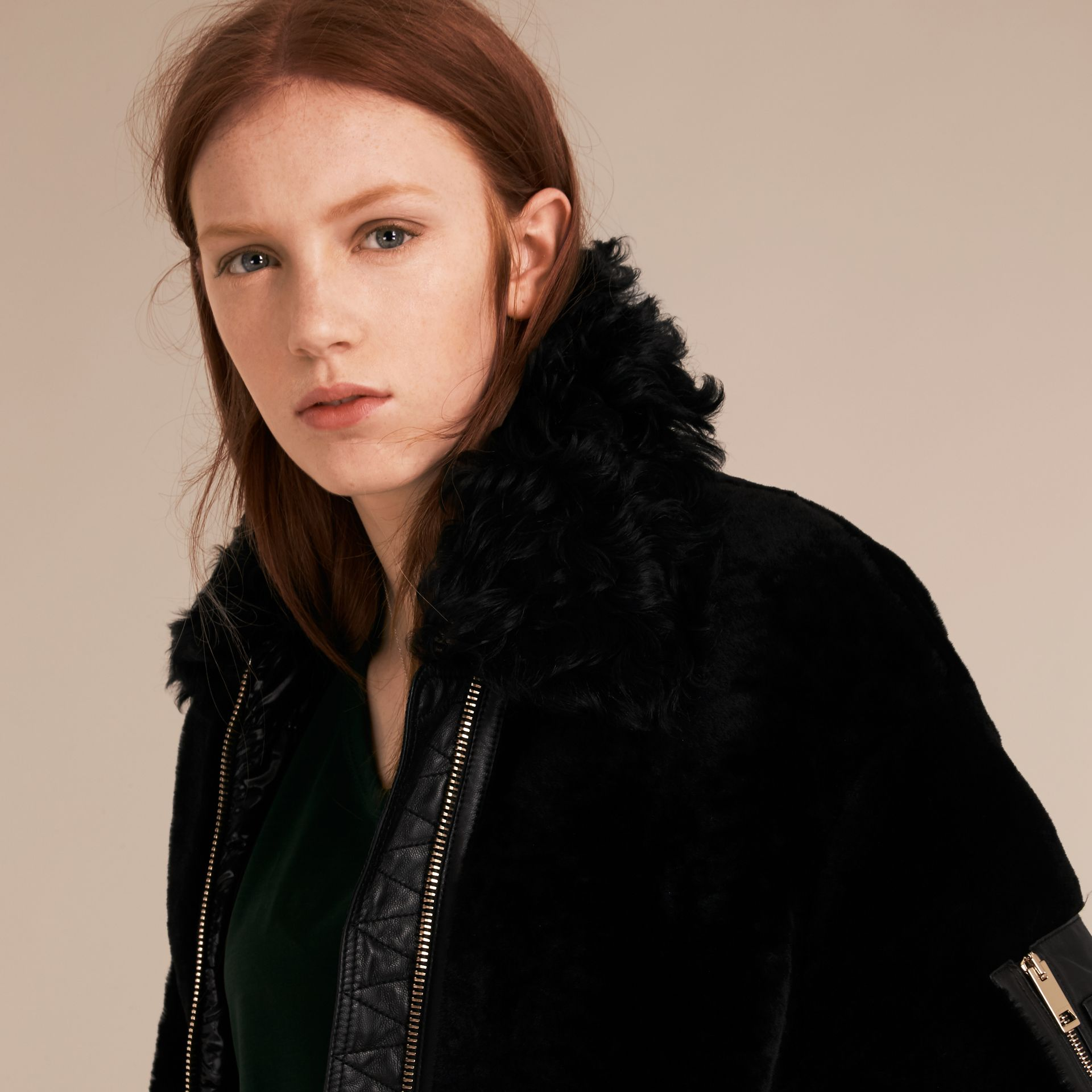Black Shearling Bomber Jacket - gallery image 5