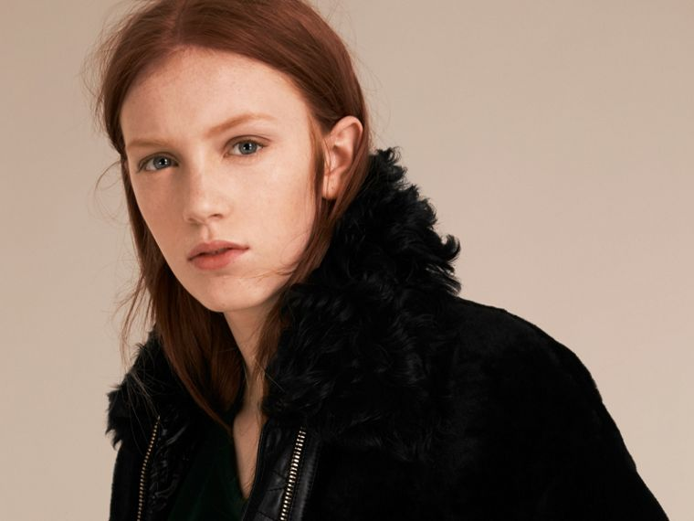 Black Shearling Bomber Jacket - cell image 4
