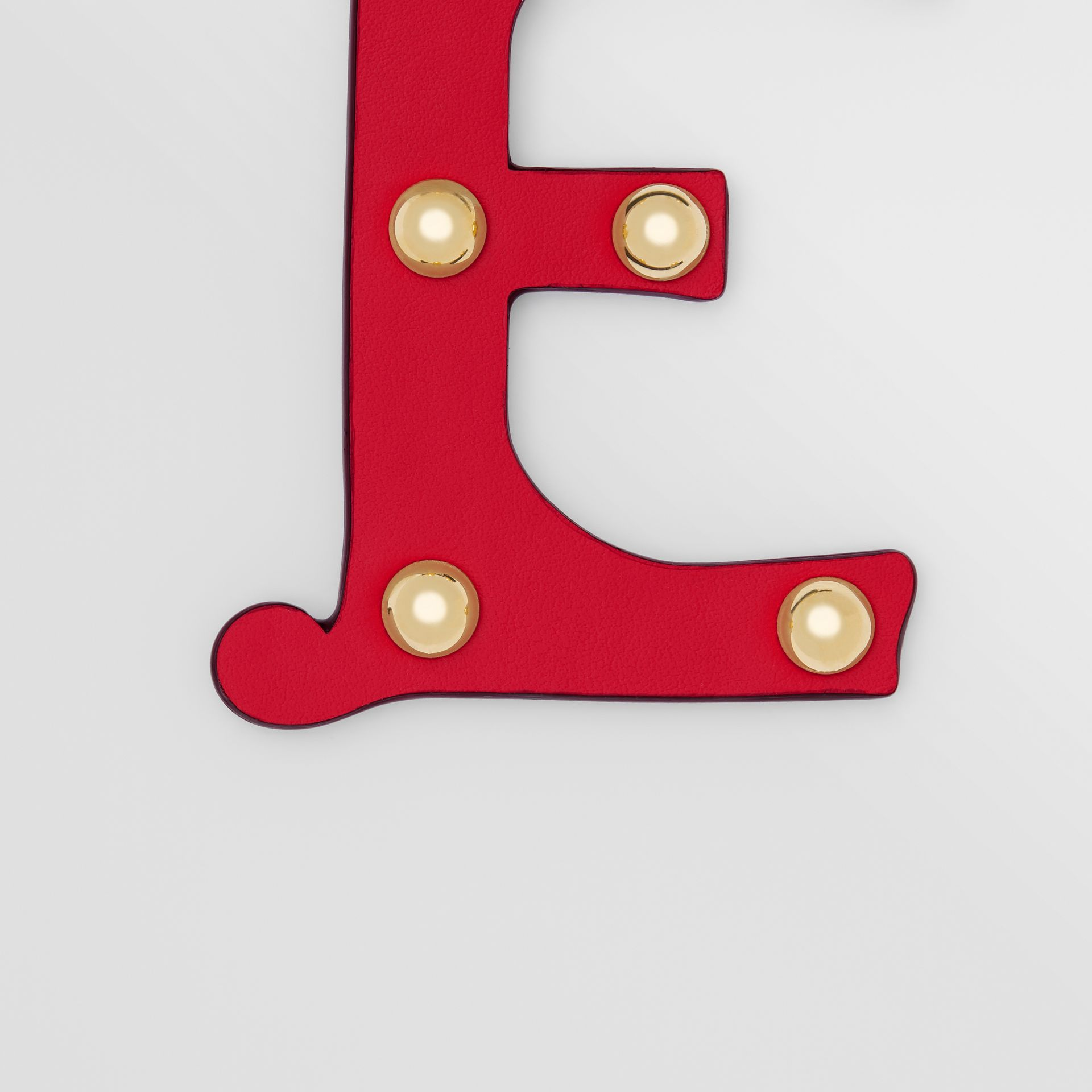 'E' Studded Leather Alphabet Charm in Red/light Gold - Women | Burberry - gallery image 1
