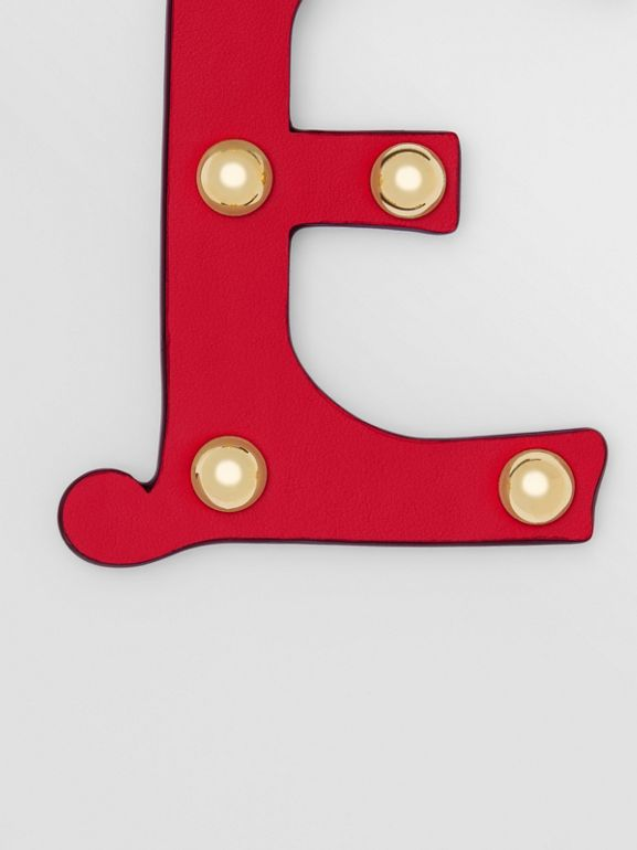 'E' Studded Leather Alphabet Charm in Red/light Gold - Women | Burberry - cell image 1