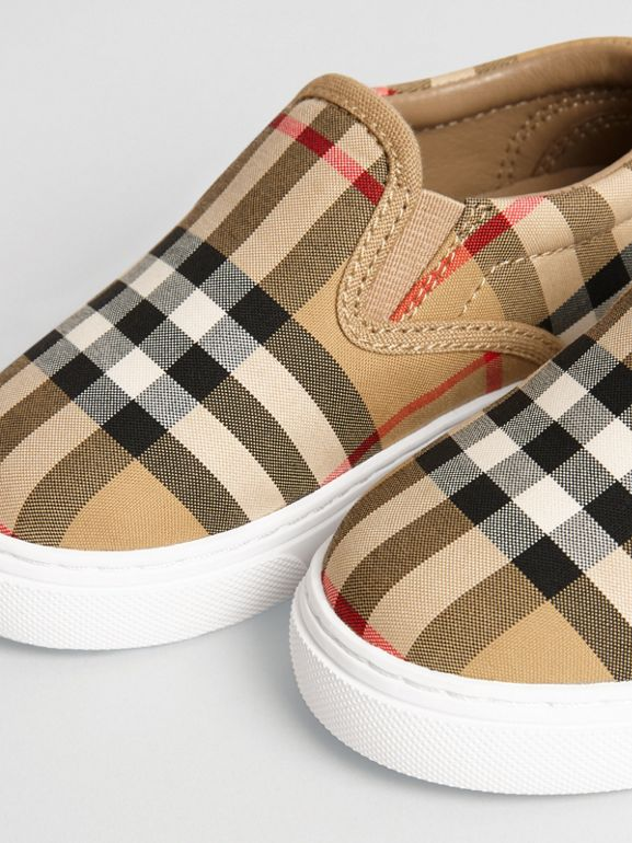 Vintage Check and Leather Slip-on Sneakers in Antique Yellow/optic White - Children | Burberry - cell image 1