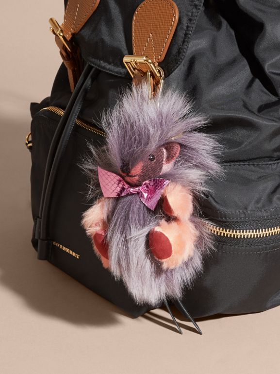 Thomas Bear Pom-Pom Charm in Check Cashmere in Rose Pink - Women | Burberry United Kingdom - cell image 1