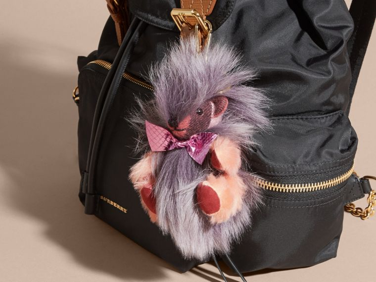 Thomas Bear Pom-Pom Charm in Check Cashmere in Rose Pink - cell image 1