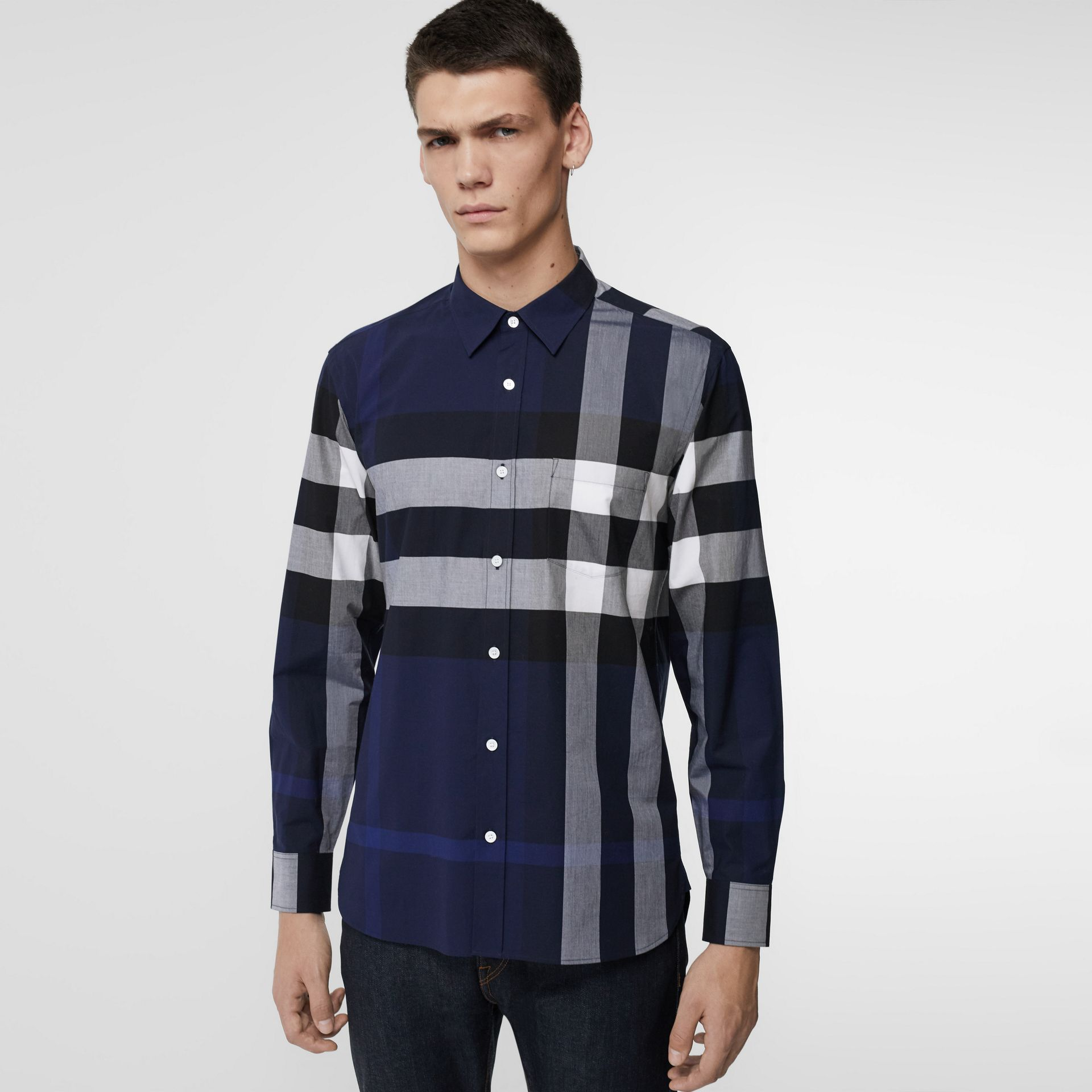 Check Stretch Cotton Shirt in Indigo Blue - Men | Burberry United Kingdom - gallery image 0
