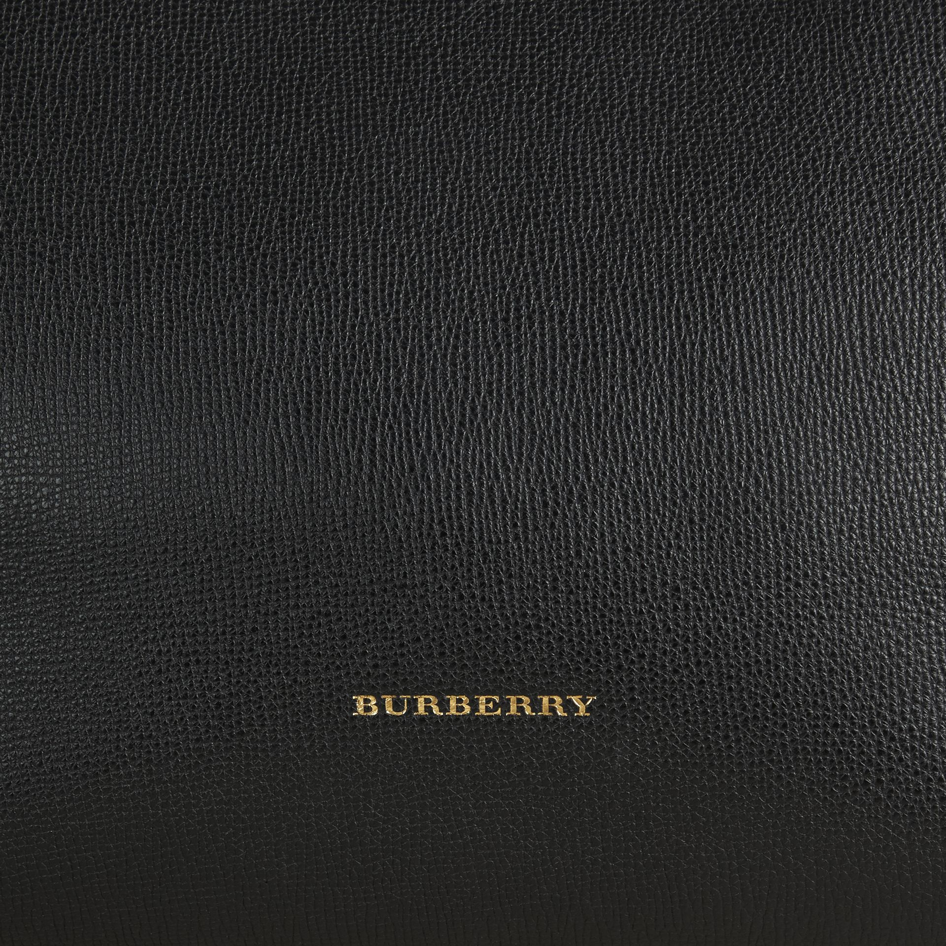 Medium Leather and House Check Tote Bag in Black - Women | Burberry - gallery image 2