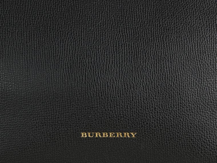 Medium Leather and House Check Tote Bag in Black - Women | Burberry - cell image 1