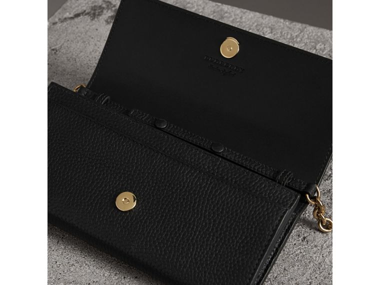 Embossed Leather Wallet with Chain in Black - Women | Burberry United States - cell image 4