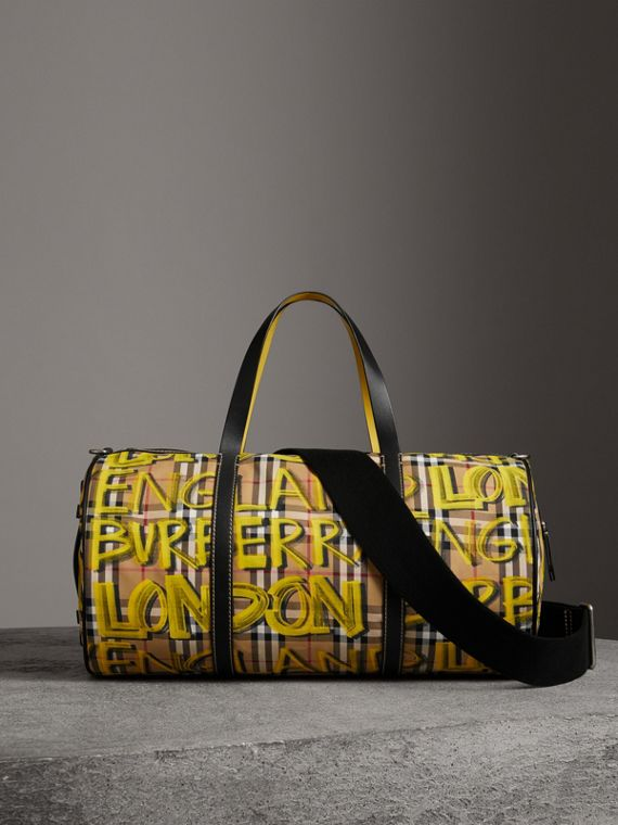 Medium Graffiti Print Vintage Check Barrel Bag in Bright Yellow/antique Yellow