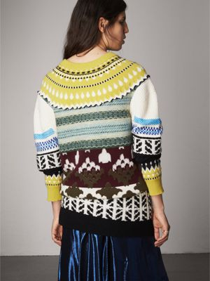 Fair Isle Cashmere Wool Sweater in Pine Green - Women | Burberry ...