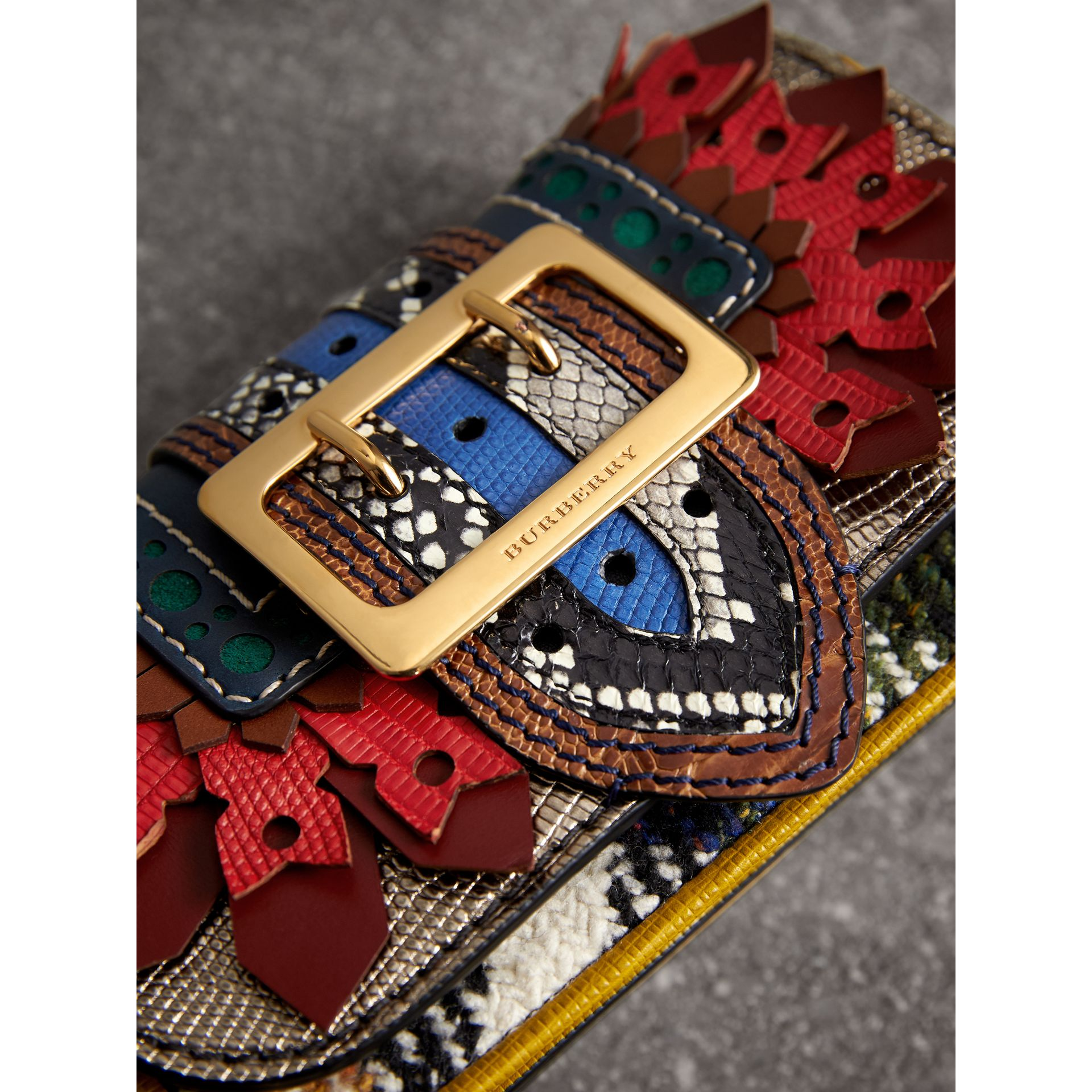 The Patchwork in Exotics and Punched Leather in Yellow/plum - Women | Burberry Australia - gallery image 1