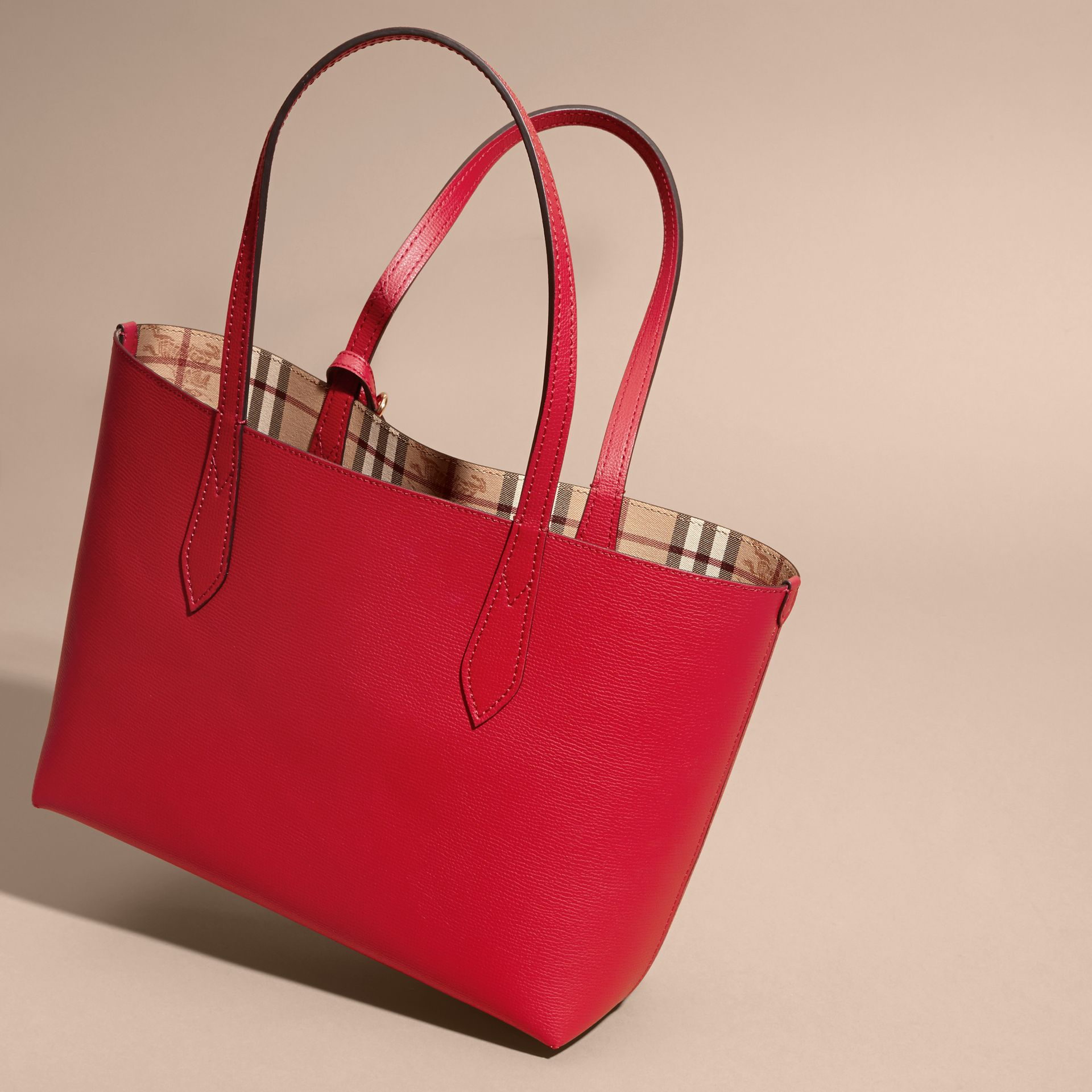The Small Reversible Tote in Haymarket Check and Leather Poppy Red - gallery image 5