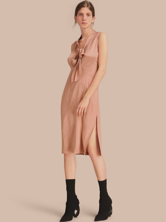 Silk Satin Tie-neck Dress - Women | Burberry